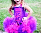 complete Cheshire Cat inspired purple and pink Halloween costume Pettitutu corset top Ears and tail  Size 12 18 months 2T 3 4 5
