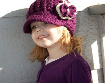 Oli J Beanie with Brim & Attached Crochet Butterfly Newborn/Infant/Toddler/Child