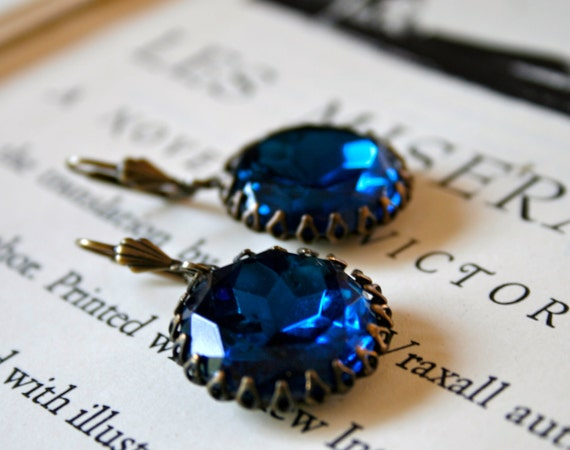 Clearance - Vintage Capri Blue Glass Jewels in Oxidized Brass, Hollywood Glamour, Large Rhinestone