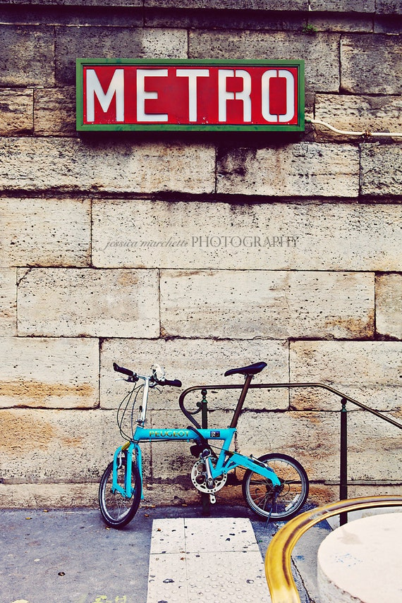 Wall Art - Street Photography - Paris Photograph - Bicycle at Metro Stop in Paris - Vintage fine art travel photography