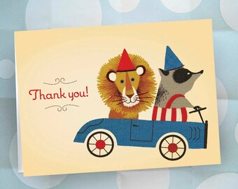 Thank You Notes - Set of 24 - Lion and Badger in GO CART - Ready to Ship