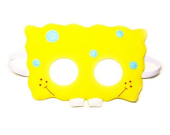 SpongeBob SquarePants felt mask for kids adults - Yellow Blue - soft photo props Party accessory - Dress up play - Gift for kids