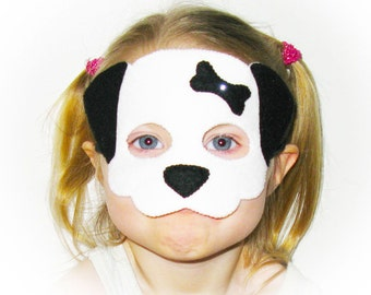 Dog mask for kids - Black White - handmade dalmatian childrens costume for boys girls - soft Dress up play accessory Theatre roleplay