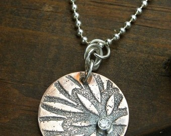 Copper and Sterling Silver Embossed Flower Necklace with Cubic Zirconia
