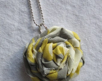 Yellow and Grey Rosette Necklace