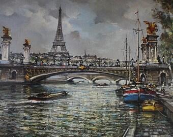 Pont Alexandre III Vintage Poster Bridge in Paris France