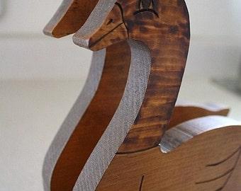 Wooden swan napkin holder
