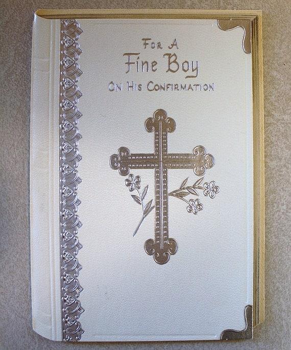 Vintage confirmation card for boys