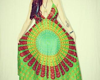 Handmade Bohemian Dress Cover-Up, Long Tunic, Organic, Hippie Dress, Tapestry, Sundress, Festival Dress, Chakra, Fairy Dress, Backless