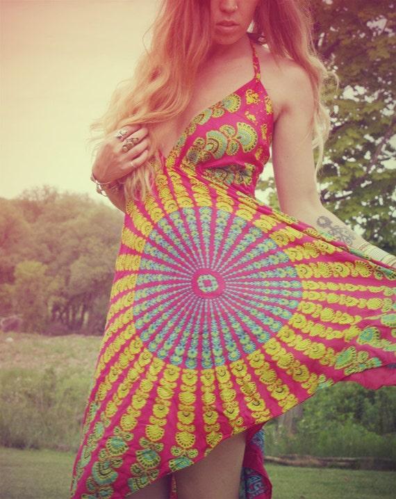 Handmade Hippie Hula Dress, NEW LENGTH, Mini Dress, High Low Festival Dress, Summer, Bohemian, Aztec, Peacock,  Hi-Lo Dress Festival