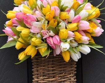 Tulip Wreath  - Tulip Pail - Tulip Basket - Mothers Day Wreath - Multi Wreath