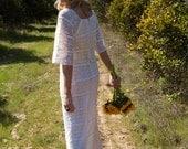 SALE - Crocheted, Hippie, Vintage Wedding Dress - Hallie