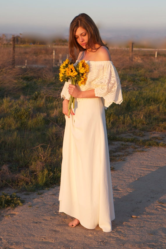 White Hippie Wedding Dresses Hippie Wedding Gown