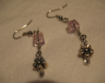 Pink crystal earrings.