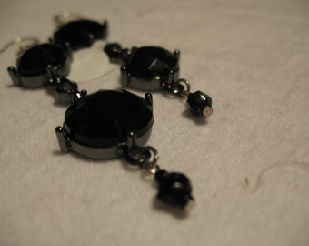 Black fiberglass and crystal pendant earrings