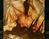 Edwardian Woman 1908 Postcard reflection in water