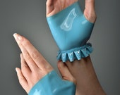 Fingerless Latex Gloves with Swarovski Crystals.