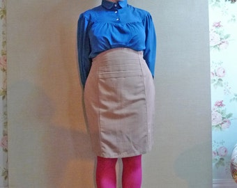 80s beige scalloped highwaisted wiggle pencil skirt L.