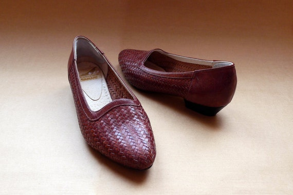 80s brown leather woven flats loafers Eur 37 / US 7