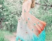 "Dress maxi crochet knitted boho gypsy grecian goddess wedding hand dyed degrade ombre turquoise shell silk "" Aphrodite Anadyomene"""