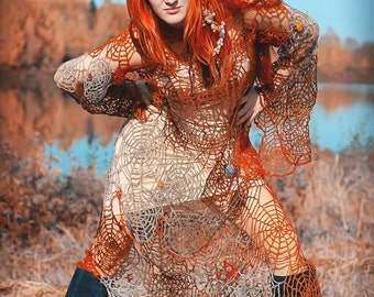 """Dress maxi halloween grey rusty red chocolate boho crochet lace beaded felted embrodered """"Mistress of autumnal spider-webs"""" in pure wool"""