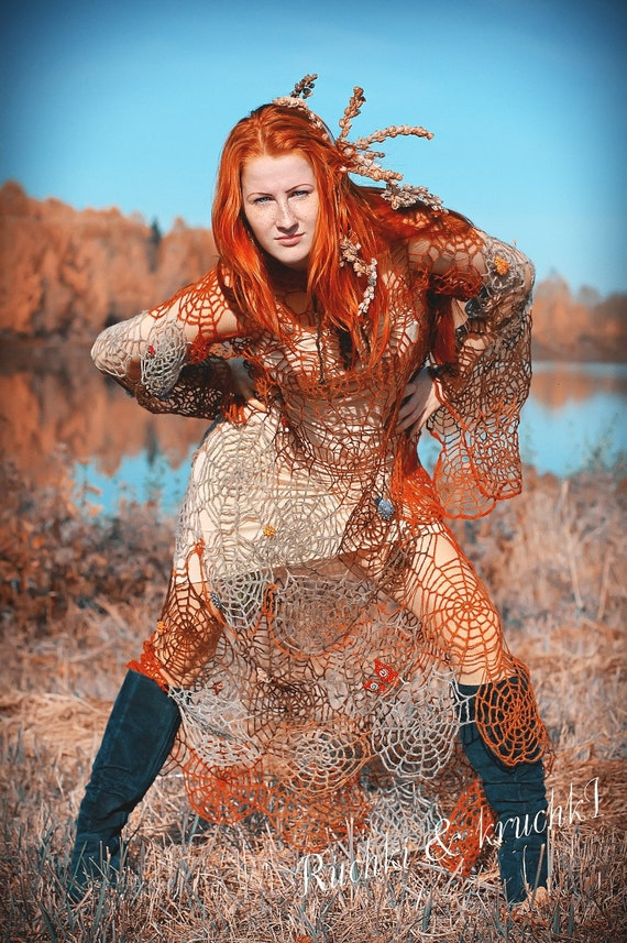 """Reserved for Sheherazad Dress maxi halloween  boho crochet lace beaded felted embrodered """"Mistress of autumnal spider-webs"""" in pure wool"""