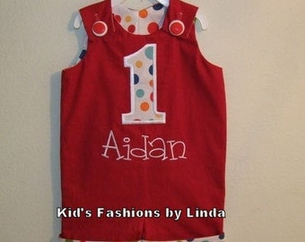 Personalized Birthday Applique Number Red Jon Jon