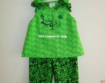 St Patrick Luck of the Irish Aline Top/Pants Set