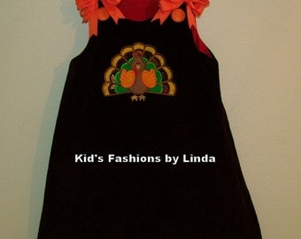 Personalized Reversible Brown Cord/Red Cord Turkey/Present Aline Dress with Bows