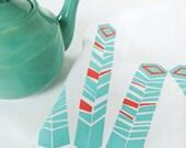 Tea Towel, Geometric, Screen Printed