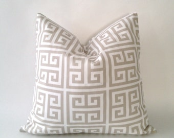 Twill Towers Greek Key Decorative Pillow Cover - Tan and White - Medium Weight Cotton- Invisible Zipper Closure- Cushion Cover