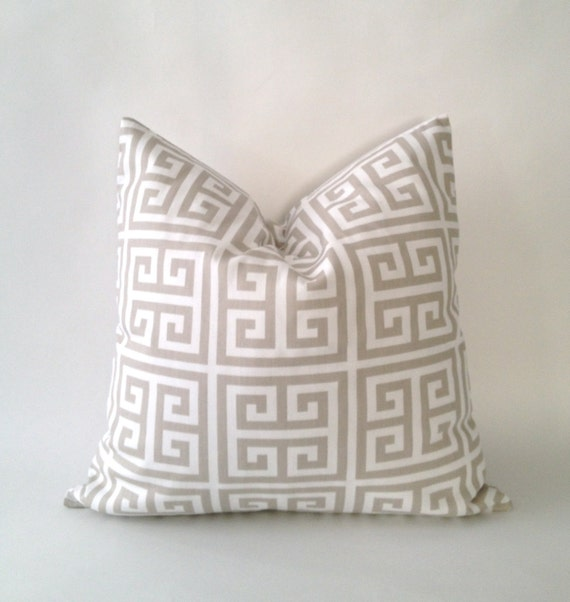 20x20 Twill Towers Greek Key Decorative Pillow Cover - Tan and White - Medium Weight Cotton- Invisible Zipper Closure- Cushion Cover