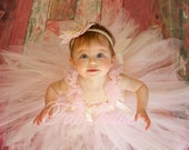 Light pink and ivory Tea Rose tutu dress with chiffon ruffles and satin bows by FabTutus, any colors or sizes available