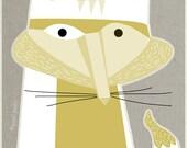 white fox, mid century design, art print, A4 size