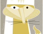 white fox - LARGE mid century design art print