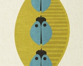 three blue beetles - mid century design art print