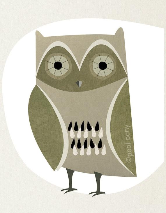 mid century design art print - night owl