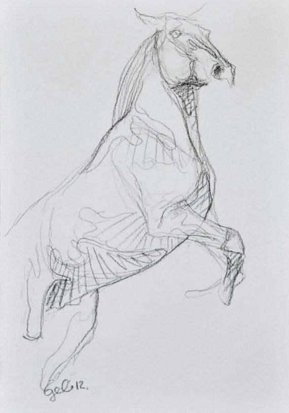 Original Reared Up Horse Sketch 170