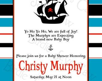 Printable Custom Preppy Pirate Baby Shower Invitation