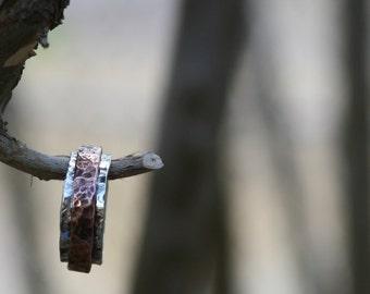 Handmade Hammered Copper and Sterling Silver Spinner/Prayer Ring