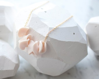 Hand Sculpted Polymer Clay Petals Necklace Blush Pink