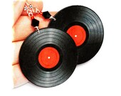 Vinyl record  Earrings Retro funky Round 2 - sided decoupage jewelry Black Red (C2)