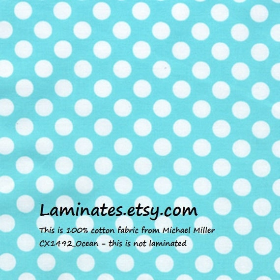 SALE Cotton fabric by the yard - Ocean Ta Dot by the yard from Michael Miller basics - white dots on aqua yardage