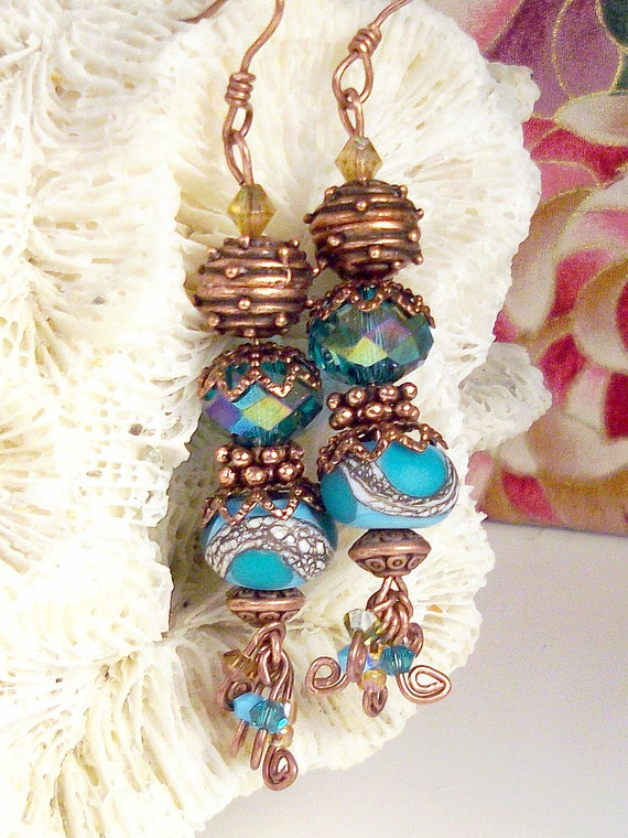 FOREVER AFTER - Lampwork eyecandy, blue and blue green, Swarovski crystals, real Bali copper, Boho Victorian dangle earrings: Beehive Blues