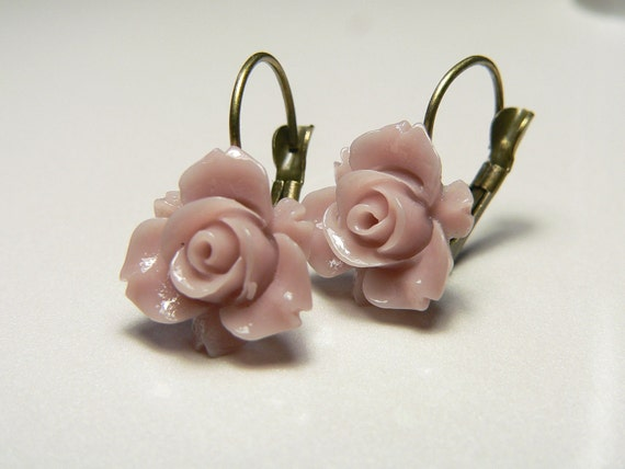 Mauve Pink Rose Resin Floral Leverback Earrings with Antique Brass