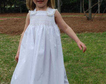 White Smocked Sundress with Ecru detail by Bradley Jane