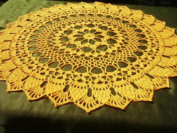 "Crocheted doily ,yellow  crochet doily , round , 15 "" ,sunflower"