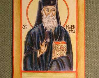 St. Nectarios of Aegina handpainted icon 5X7 FREE US shipping