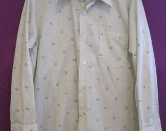 Mod Vintage 1970s Shirt J C Penney 15-1/2 32 Green White Leaves Plaid Unisex Four Five Leaf Clover 44 The Emerald Isle Shamrock