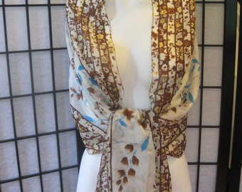 SALE Vintage 1970s Silk Scarf Semi Sheer Shawl Long and Wide Floral Brown Turquoise Blue Ivory Off White Yellow Green